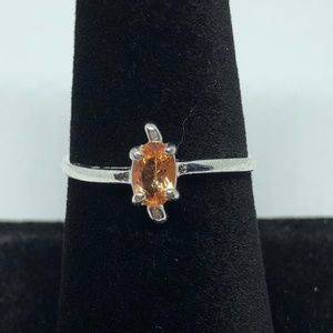 Emerald Cut Peach CZ Silver Ring Size 7